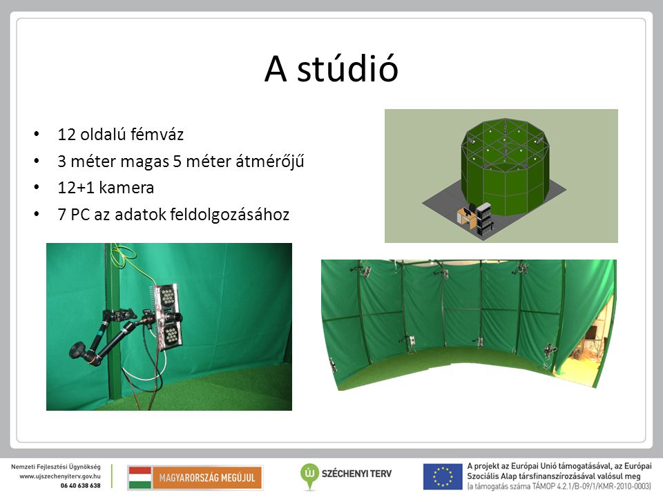 A stúdió 12 oldalú fémváz 3 méter magas 5 méter átmérőjű 12+1 kamera 7 PC az adatok feldolgozásához