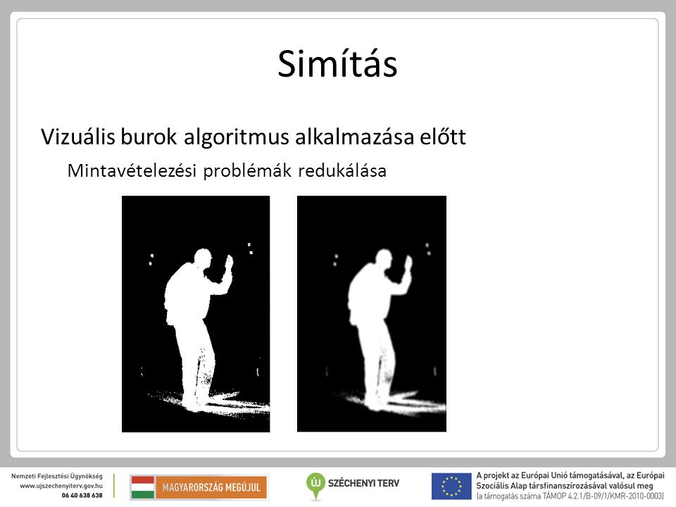 Simítás Vizuális burok algoritmus alkalmazása előtt Mintavételezési problémák redukálása