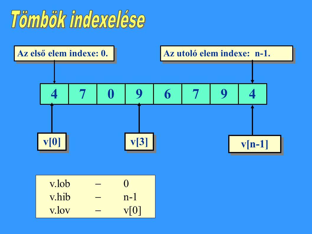 47096794 Az első elem indexe: 0.Az utoló elem indexe: n-1.