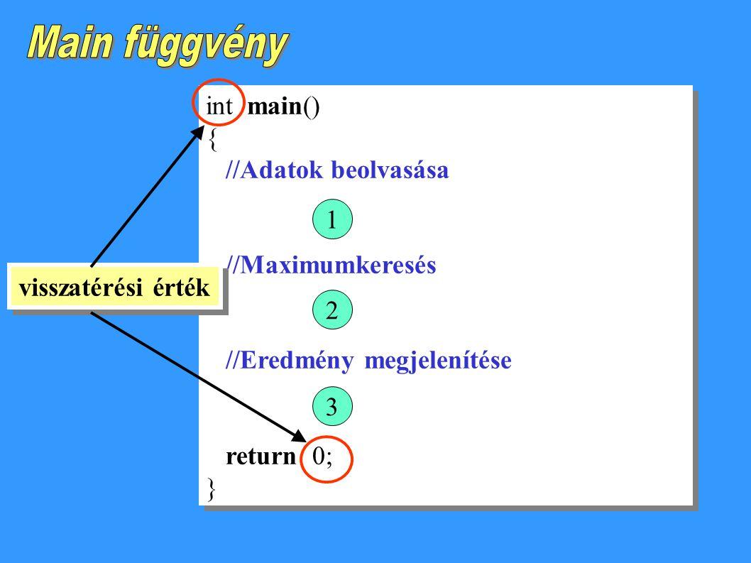 int main() { //Adatok beolvasása //Maximumkeresés //Eredmény megjelenítése return 0; } int main() { //Adatok beolvasása //Maximumkeresés //Eredmény megjelenítése return 0; } 123 visszatérési érték