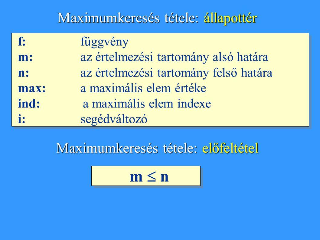 f: függvény m: az értelmezési tartomány alsó határa n: az értelmezési tartomány felső határa max: a maximális elem értéke ind: a maximális elem indexe i:segédváltozó f: függvény m: az értelmezési tartomány alsó határa n: az értelmezési tartomány felső határa max: a maximális elem értéke ind: a maximális elem indexe i:segédváltozó Maximumkeresés tétele: állapottér Maximumkeresés tétele: előfeltétel m  n