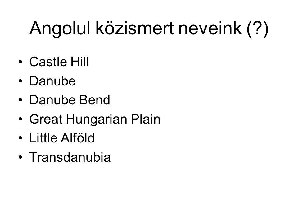 Angolul közismert neveink (?) Castle Hill Danube Danube Bend Great Hungarian Plain Little Alföld Transdanubia