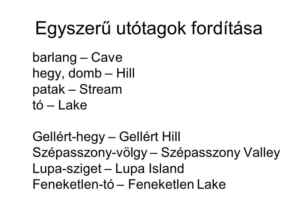 Egyszerű utótagok fordítása barlang – Cave hegy, domb – Hill patak – Stream tó – Lake Gellért-hegy – Gellért Hill Szépasszony-völgy – Szépasszony Vall