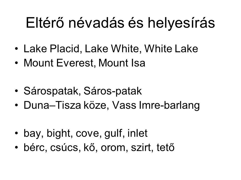 Eltérő névadás és helyesírás Lake Placid, Lake White, White Lake Mount Everest, Mount Isa Sárospatak, Sáros-patak Duna–Tisza köze, Vass Imre-barlang b