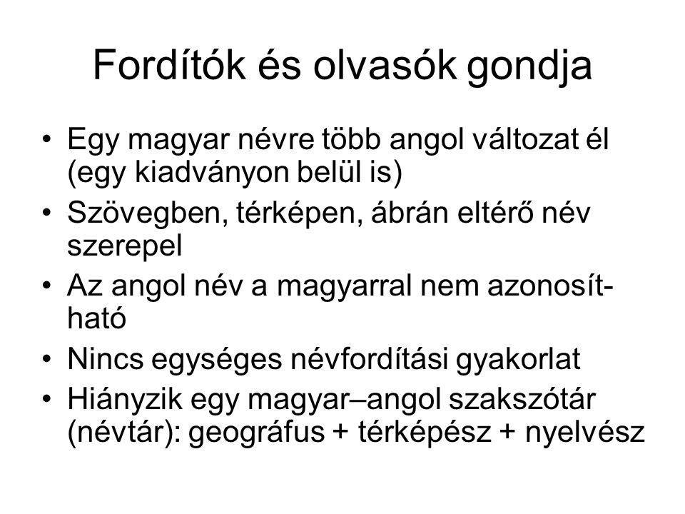 Fordítók és olvasók gondja Egy magyar névre több angol változat él (egy kiadványon belül is) Szövegben, térképen, ábrán eltérő név szerepel Az angol n