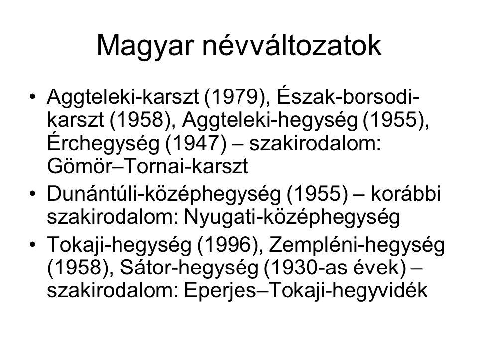 Magyar névváltozatok Aggteleki-karszt (1979), Észak-borsodi- karszt (1958), Aggteleki-hegység (1955), Érchegység (1947) – szakirodalom: Gömör–Tornai-k