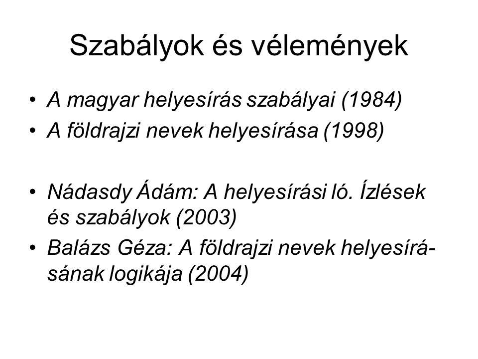 Szabályok és vélemények A magyar helyesírás szabályai (1984) A földrajzi nevek helyesírása (1998) Nádasdy Ádám: A helyesírási ló. Ízlések és szabályok