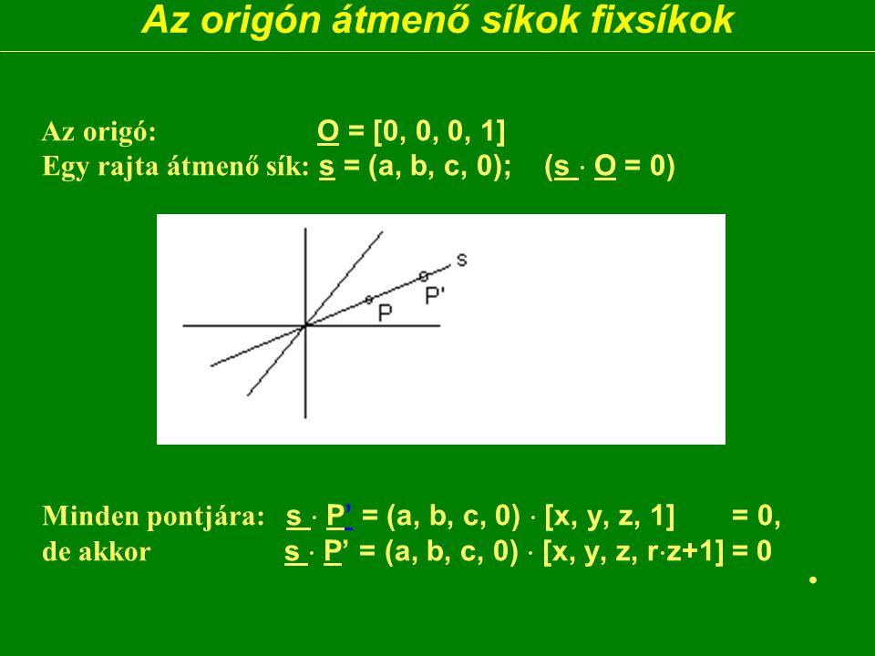Az origón átmenő síkok fixsíkok Az origó: O = [0, 0, 0, 1] Egy rajta átmenő sík: s = (a, b, c, 0); (s  O = 0) Minden pontjára: s  P' = (a, b, c, 0)  [x, y, z, 1] = 0, de akkor s  P' = (a, b, c, 0)  [x, y, z, r  z+1] = 0