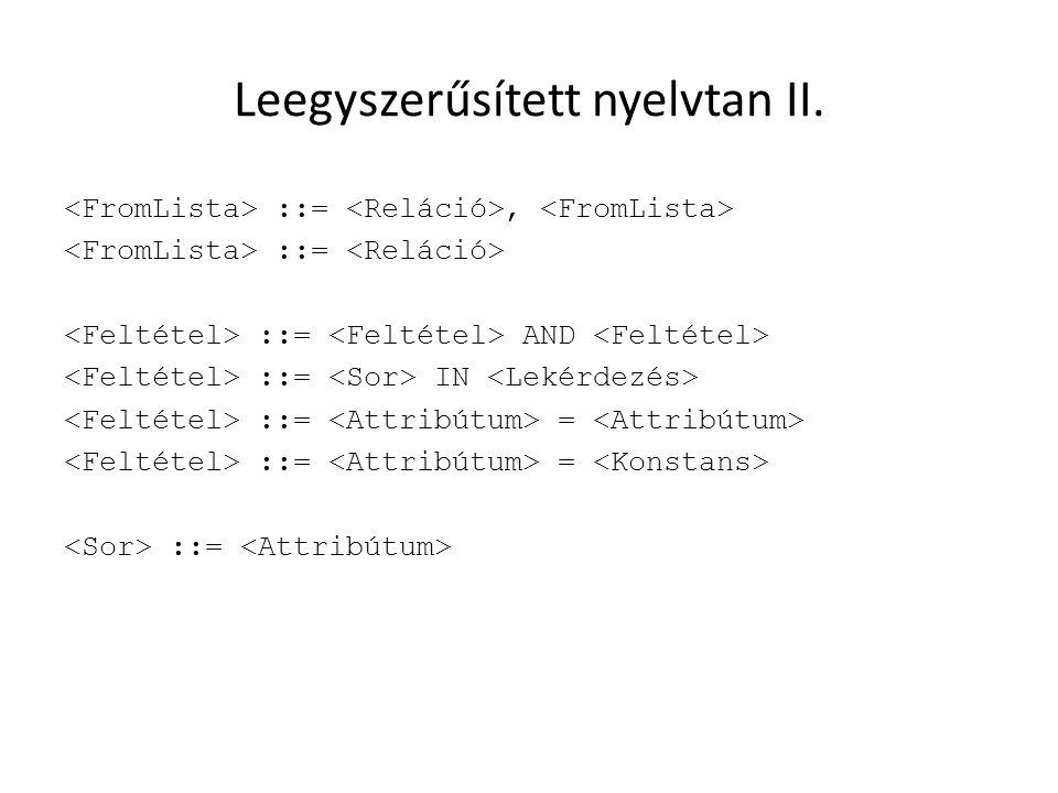 Leegyszerűsített nyelvtan II. ::=, ::= ::= AND ::= IN ::= = ::=