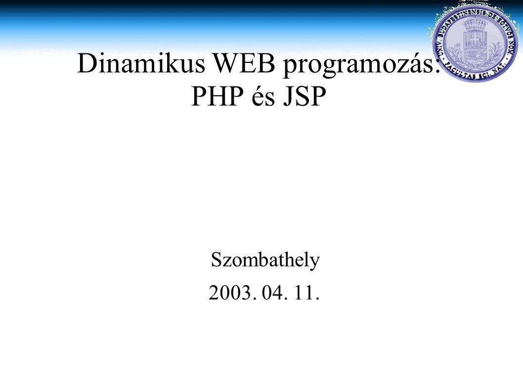 Szombathely 2003. 04. 11. Dinamikus WEB programozás: PHP és JSP