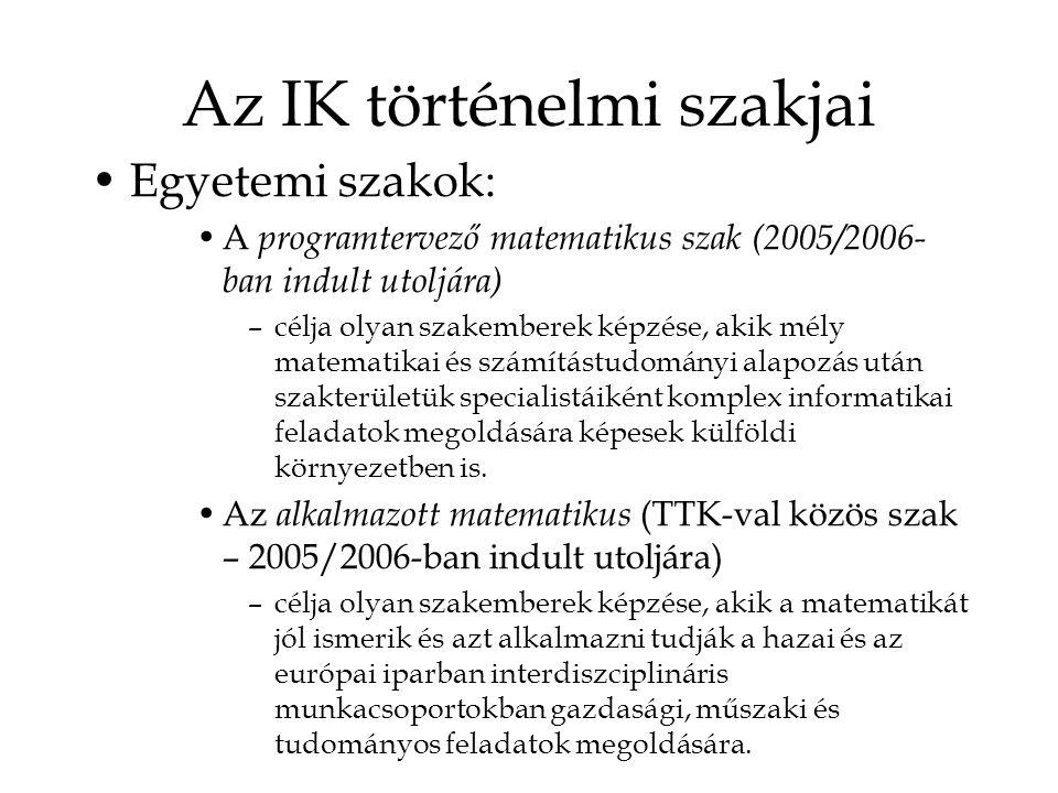 Az IK történelmi szakjai Egyetemi szakok: A programtervező matematikus szak (2005/2006- ban indult utoljára) –célja olyan szakemberek képzése, akik mély matematikai és számítástudományi alapozás után szakterületük specialistáiként komplex informatikai feladatok megoldására képesek külföldi környezetben is.