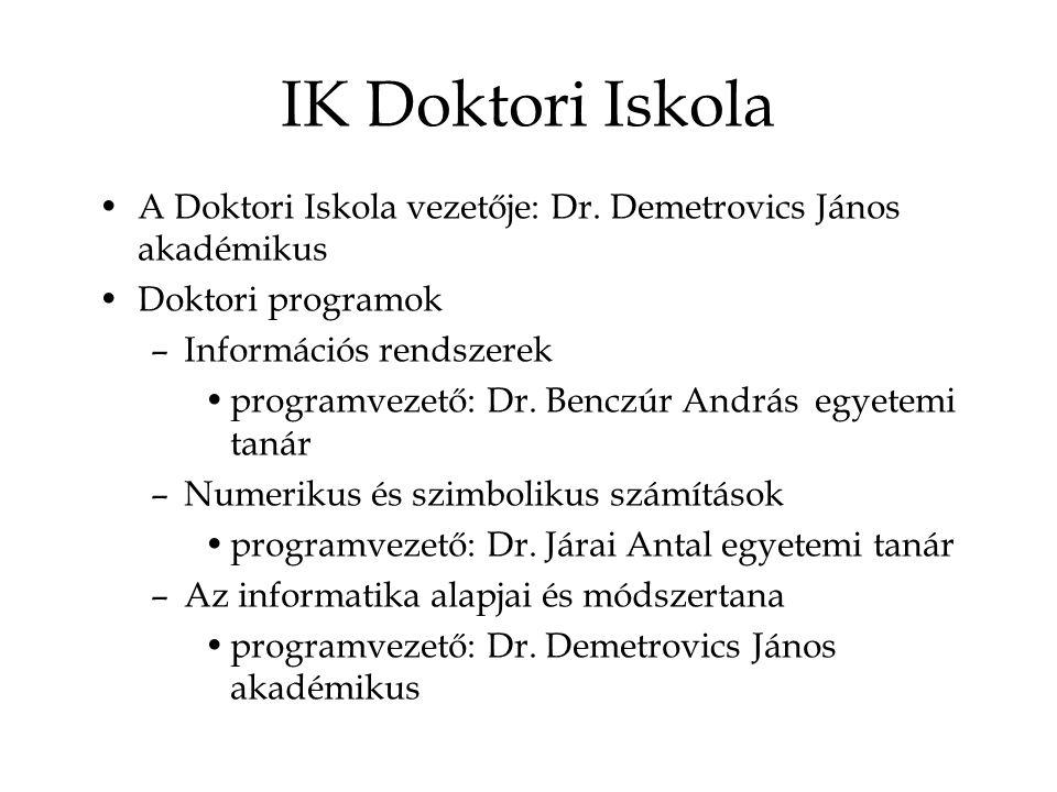 IK Doktori Iskola A Doktori Iskola vezetője: Dr. Demetrovics János akadémikus Doktori programok –Információs rendszerek programvezető: Dr. Benczúr And