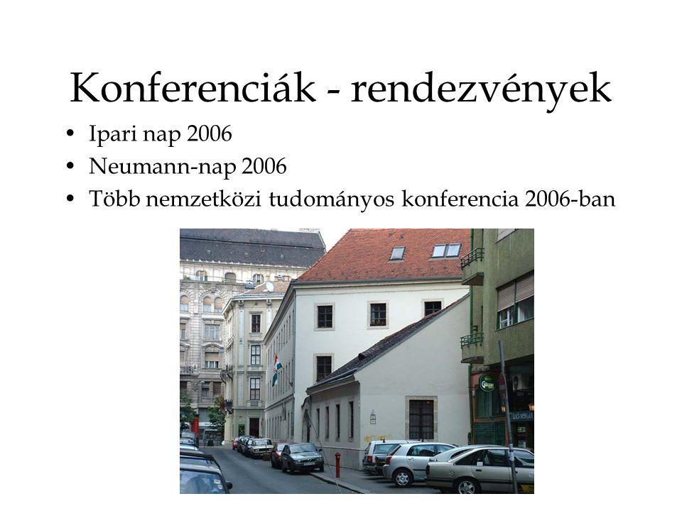 Konferenciák - rendezvények Ipari nap 2006 Neumann-nap 2006 Több nemzetközi tudományos konferencia 2006-ban