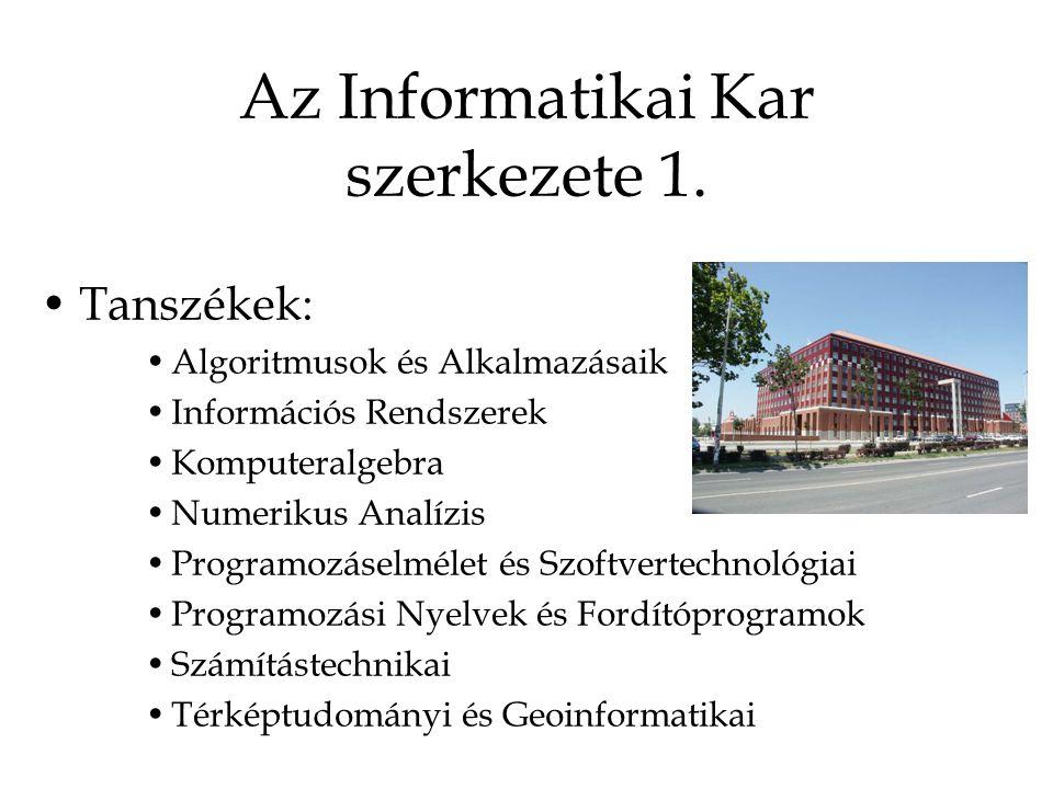 Az Informatikai Kar szerkezete 1.