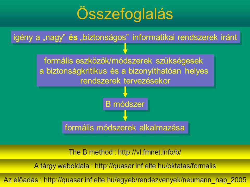 """Összefoglalás igény a """"nagy és """"biztonságos informatikai rendszerek iránt formális eszközök/módszerek szükségesek a biztonságkritikus és a bizonyíthatóan helyes rendszerek tervezésekor formális eszközök/módszerek szükségesek a biztonságkritikus és a bizonyíthatóan helyes rendszerek tervezésekor B módszer formális módszerek alkalmazása Az előadás : http://quasar.inf.elte.hu/egyeb/rendezvenyek/neumann_nap_2005 A tárgy weboldala : http://quasar.inf.elte.hu/oktatas/formalis The B method : http://vl.fmnet.info/b/"""
