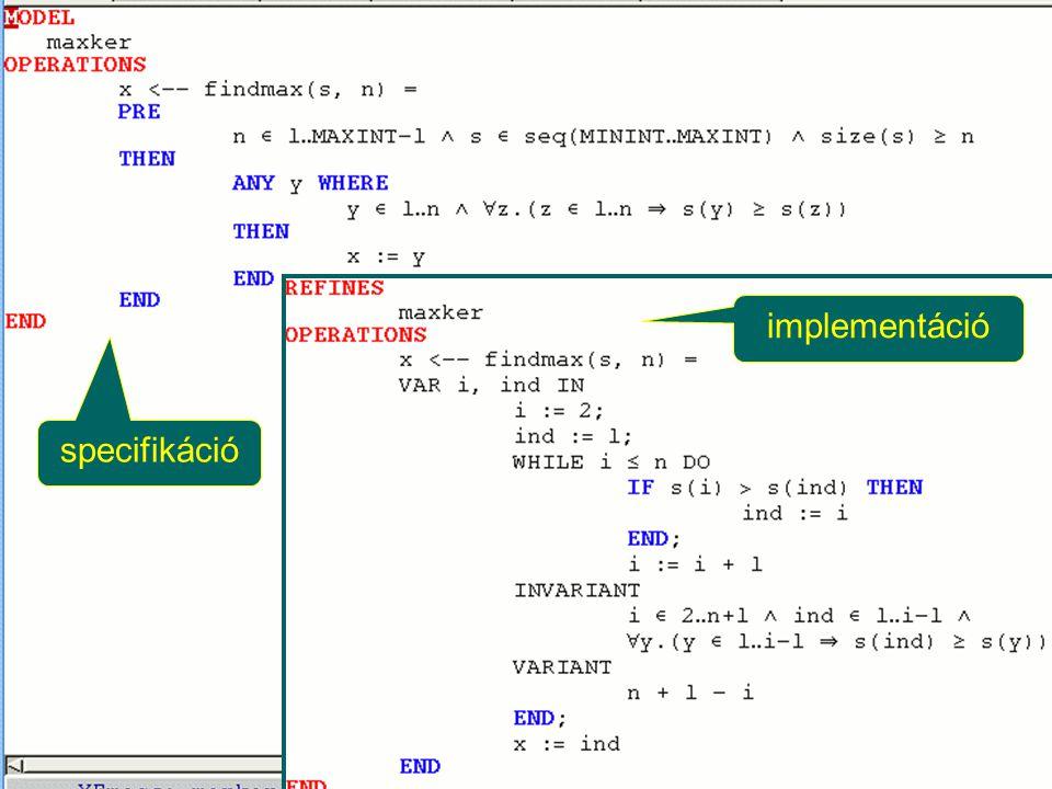 specifikáció implementáció