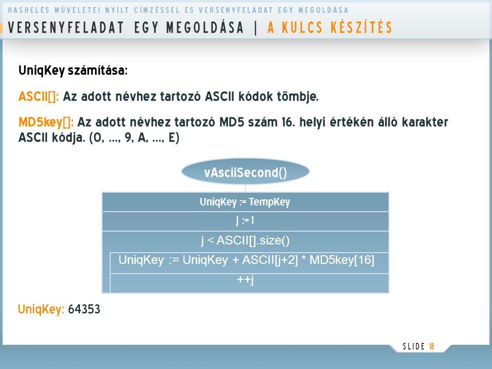 V E R S E N Y F E L A D A T E G Y M E G O L D Á S A | A K U L C S K É S Z Í T É S S L I D E 18 UniqKey számítása: ASCII[]: Az adott névhez tartozó ASC