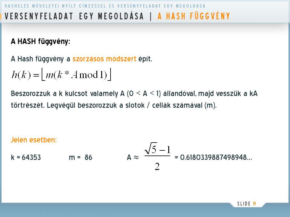 V E R S E N Y F E L A D A T E G Y M E G O L D Á S A | A H A S H F Ü G G V É N Y S L I D E 19 A HASH függvény: A Hash függvény a szorzásos módszert épí