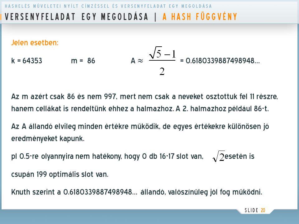V E R S E N Y F E L A D A T E G Y M E G O L D Á S A | A H A S H F Ü G G V É N Y S L I D E 20 Jelen esetben: k = 64353 m = 86A  = 0.618