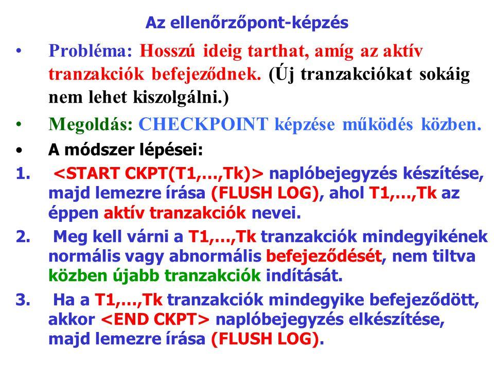 Az ellenőrzőpont-képzés Probléma: Hosszú ideig tarthat, amíg az aktív tranzakciók befejeződnek. (Új tranzakciókat sokáig nem lehet kiszolgálni.) Megol