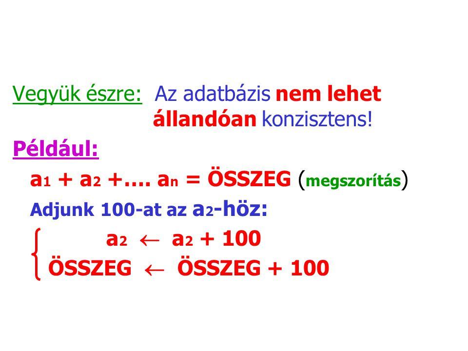 Vegyük észre: Az adatbázis nem lehet állandóan konzisztens! Például: a 1 + a 2 +…. a n = ÖSSZEG ( megszorítás ) Adjunk 100-at az a 2 -höz: a 2  a 2 +