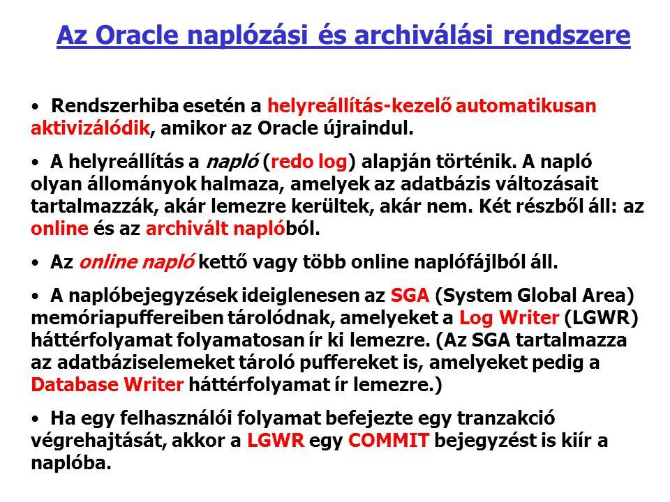 Az Oracle naplózási és archiválási rendszere Rendszerhiba esetén a helyreállítás-kezelő automatikusan aktivizálódik, amikor az Oracle újraindul. A hel