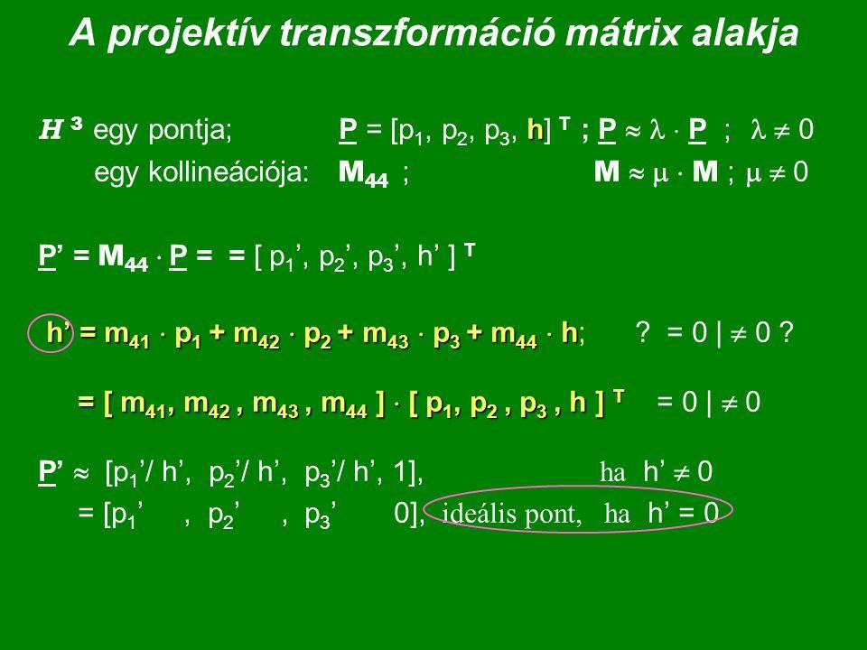 A projektív transzformáció mátrix alakja h H 3 egy pontja; P = [p 1, p 2, p 3, h] T ; P   P ;  0 egy kollineációja: M 44 ; M    M ;   0 P' = M 44  P = = [ p 1 ', p 2 ', p 3 ', h' ] T h' = m 41  p 1 + m 42  p 2 + m 43  p 3 + m 44  h = [ m 41, m 42, m 43, m 44 ]  [ p 1, p 2, p 3, h ] T h' = m 41  p 1 + m 42  p 2 + m 43  p 3 + m 44  h; .