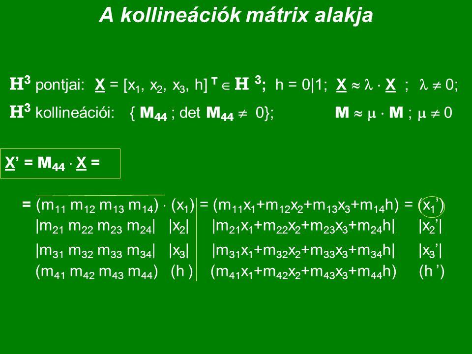 A kollineációk mátrix alakja H 3 pontjai: X = [x 1, x 2, x 3, h] T  H 3 ; h = 0|1; X   X ;  0; H 3 kollineációi: { M 44 ; det M 44  0}; M    M ;   0 X' = M 44  X = = (m 11 m 12 m 13 m 14 )  (x 1 ) = (m 11 x 1 +m 12 x 2 +m 13 x 3 +m 14 h) = (x 1 ') |m 21 m 22 m 23 m 24 | |x 2 | |m 21 x 1 +m 22 x 2 +m 23 x 3 +m 24 h| |x 2 '| |m 31 m 32 m 33 m 34 | |x 3 | |m 31 x 1 +m 32 x 2 +m 33 x 3 +m 34 h| |x 3 '| (m 41 m 42 m 43 m 44 ) (h ) (m 41 x 1 +m 42 x 2 +m 43 x 3 +m 44 h) (h ')