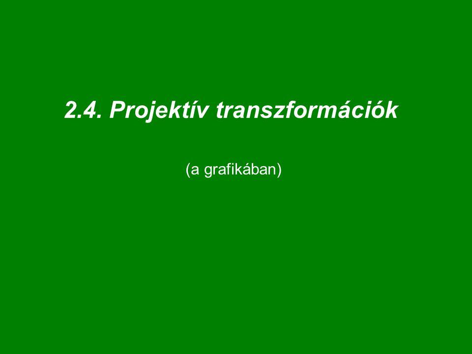 """A """"valódi projektív transzformációk { A 44 }  { P 44 }; A 44 : E 3   E 3 és I 3   I 3 """"valódi projektív transzformáció: M 44  { A 44 }, ekkor: van olyan (!) : X = [x 1, x 2, x 3, 1] T  E 3 X' = M 44 · X = [ x 1 ', x 2 ', x 3 ', 0]  I 3 egy közönséges síkot  az ideális síkba az ideális síkot  egy közönséges síkba * a transzformáció """"eltűnő síkja"""
