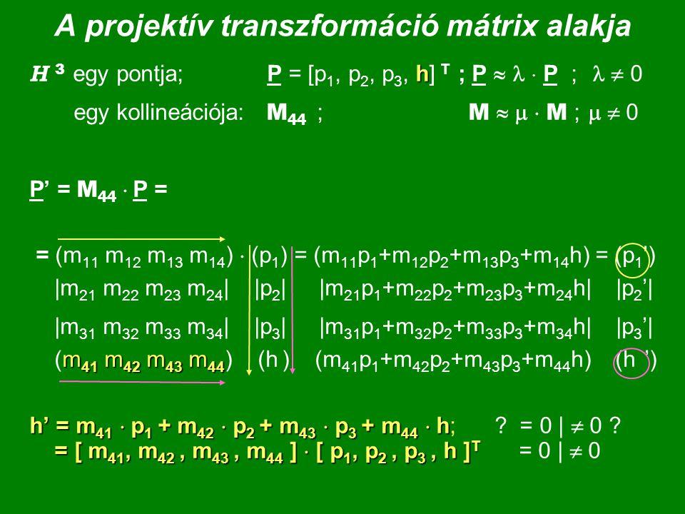 A projektív transzformáció mátrix alakja h H 3 egy pontja; P = [p 1, p 2, p 3, h] T ; P   P ;  0 egy kollineációja: M 44 ; M    M ;   0 P' = M 44  P = = (m 11 m 12 m 13 m 14 )  (p 1 ) = (m 11 p 1 +m 12 p 2 +m 13 p 3 +m 14 h) = (p 1 ') |m 21 m 22 m 23 m 24 | |p 2 | |m 21 p 1 +m 22 p 2 +m 23 p 3 +m 24 h| |p 2 '| m 41 m 42 m 43 m 44 |m 31 m 32 m 33 m 34 | |p 3 | |m 31 p 1 +m 32 p 2 +m 33 p 3 +m 34 h| |p 3 '| (m 41 m 42 m 43 m 44 ) (h ) (m 41 p 1 +m 42 p 2 +m 43 p 3 +m 44 h) (h ') h' = m 41  p 1 + m 42  p 2 + m 43  p 3 + m 44  h = [ m 41, m 42, m 43, m 44 ]  [ p 1, p 2, p 3, h ] T h' = m 41  p 1 + m 42  p 2 + m 43  p 3 + m 44  h; .