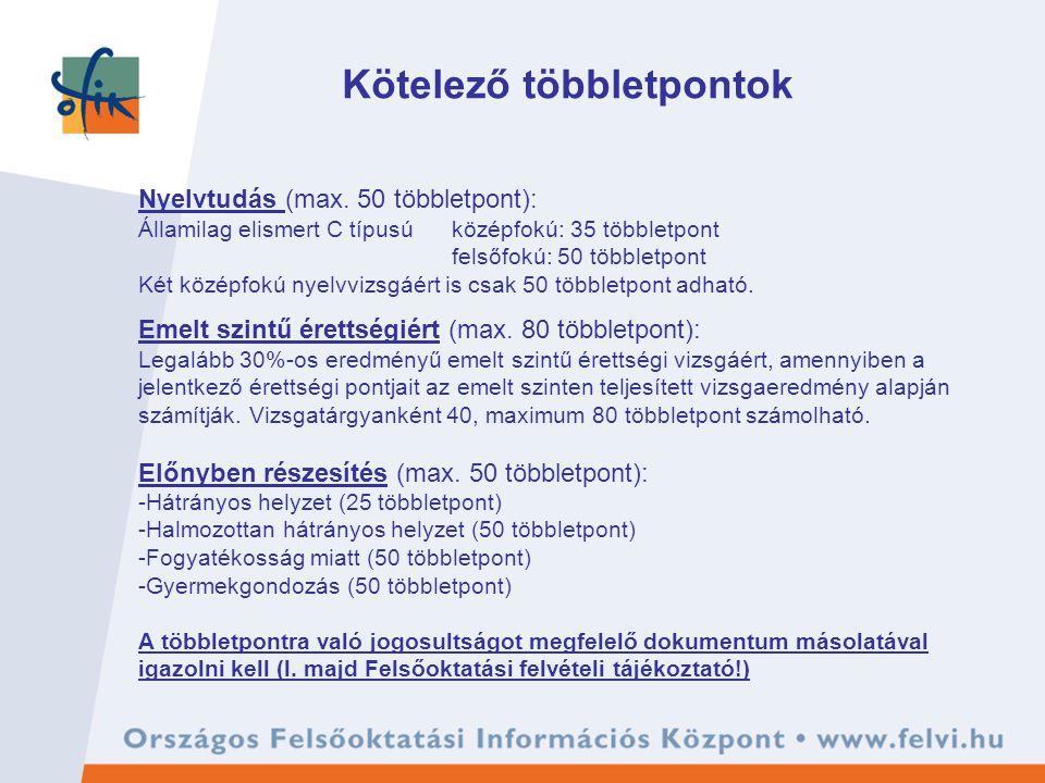 Kötelező többletpontok Nyelvtudás (max.