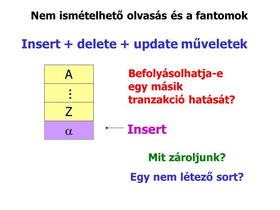 Insert + delete + update műveletek Insert A Z ... Nem ismételhető olvasás és a fantomok Befolyásolhatja-e egy másik tranzakció hatását? Mit zároljunk