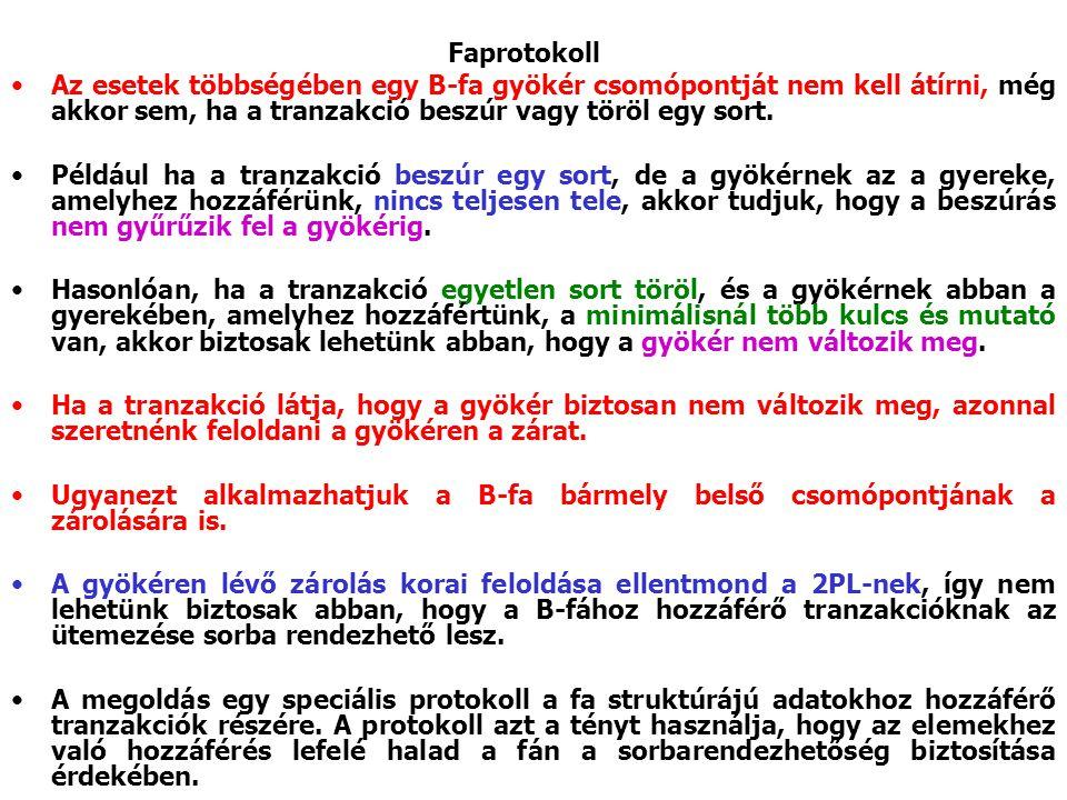 Az esetek többségében egy B ‑ fa gyökér csomópontját nem kell átírni, még akkor sem, ha a tranzakció beszúr vagy töröl egy sort.