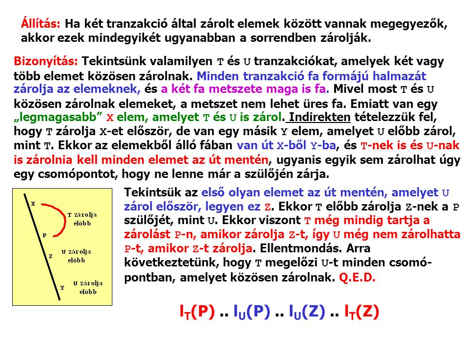 Állítás: Ha két tranzakció által zárolt elemek között vannak megegyezők, akkor ezek mindegyikét ugyanabban a sorrendben zárolják. Bizonyítás: Tekintsü