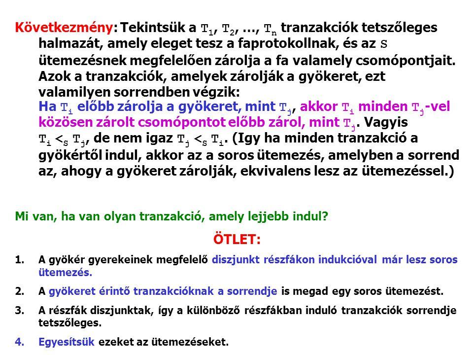 Következmény: Tekintsük a T 1, T 2, …, T n tranzakciók tetszőleges halmazát, amely eleget tesz a faprotokollnak, és az S ütemezésnek megfelelően zárol