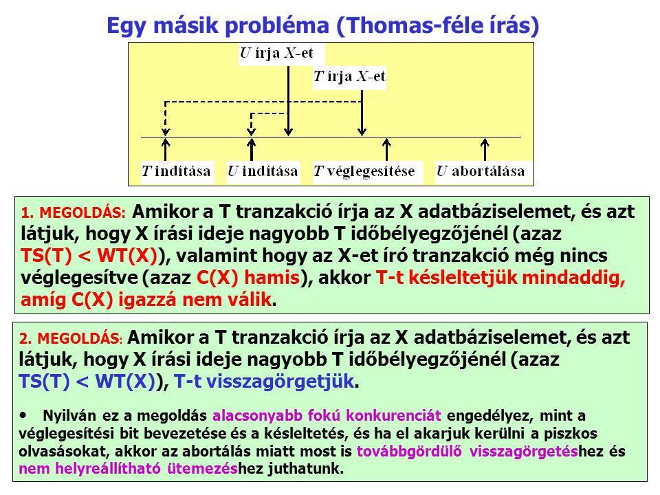 Egy másik probléma (Thomas-féle írás) 1. MEGOLDÁS: Amikor a T tranzakció írja az X adatbáziselemet, és azt látjuk, hogy X írási ideje nagyobb T időbél