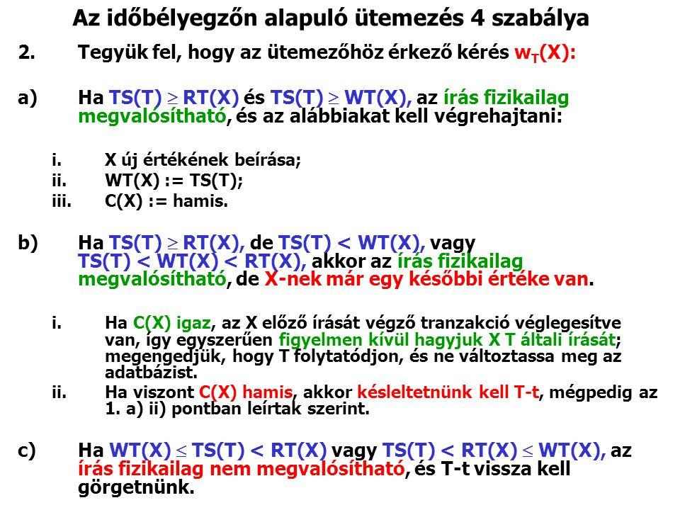 Az időbélyegzőn alapuló ütemezés 4 szabálya 2.Tegyük fel, hogy az ütemezőhöz érkező kérés w T (X): a)Ha TS(T)  RT(X) és TS(T)  WT(X), az írás fizikailag megvalósítható, és az alábbiakat kell végrehajtani: i.X új értékének beírása; ii.WT(X) := TS(T); iii.C(X) := hamis.