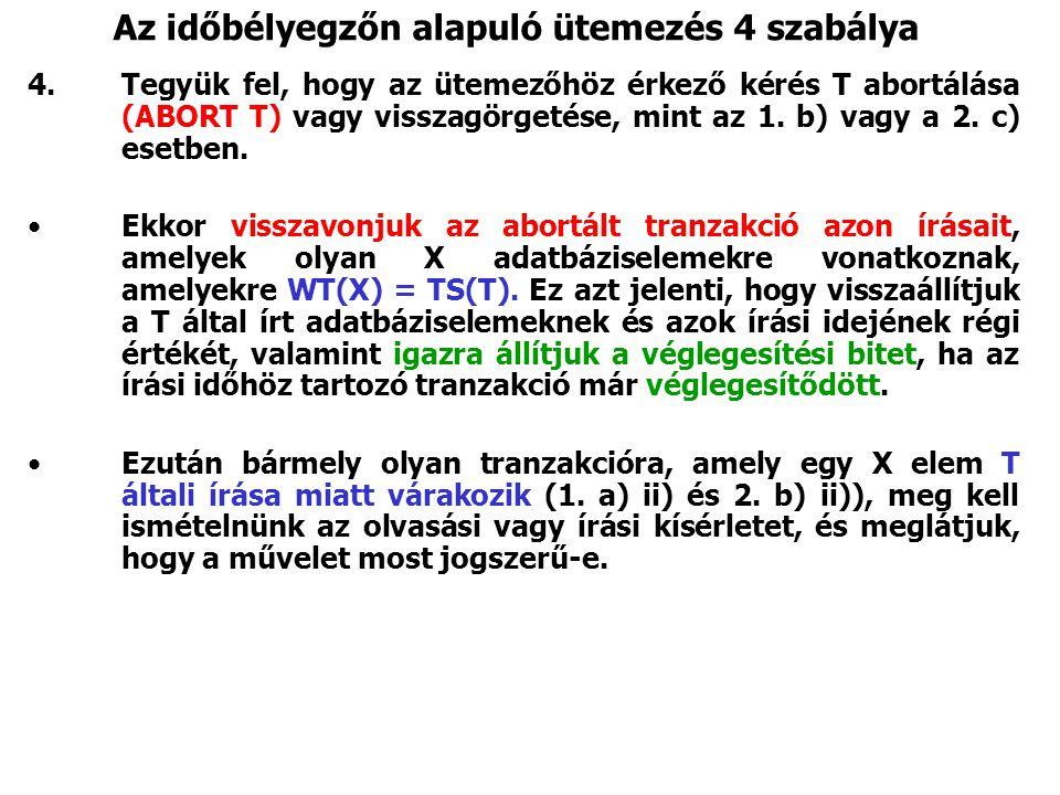 Az időbélyegzőn alapuló ütemezés 4 szabálya 4.Tegyük fel, hogy az ütemezőhöz érkező kérés T abortálása (ABORT T) vagy visszagörgetése, mint az 1. b) v