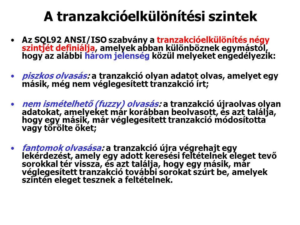 A tranzakcióelkülönítési szintek Az SQL92 ANSI/ISO szabvány a tranzakcióelkülönítés négy szintjét definiálja, amelyek abban különböznek egymástól, hogy az alábbi három jelenség közül melyeket engedélyezik: piszkos olvasás: a tranzakció olyan adatot olvas, amelyet egy másik, még nem véglegesített tranzakció írt; nem ismételhető (fuzzy) olvasás: a tranzakció újraolvas olyan adatokat, amelyeket már korábban beolvasott, és azt találja, hogy egy másik, már véglegesített tranzakció módosította vagy törölte őket; fantomok olvasása: a tranzakció újra végrehajt egy lekérdezést, amely egy adott keresési feltételnek eleget tevő sorokkal tér vissza, és azt találja, hogy egy másik, már véglegesített tranzakció további sorokat szúrt be, amelyek szintén eleget tesznek a feltételnek.
