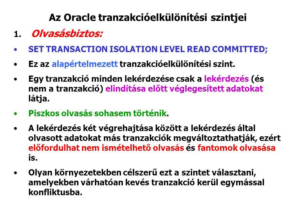 Az Oracle tranzakcióelkülönítési szintjei 1. Olvasásbiztos: SET TRANSACTION ISOLATION LEVEL READ COMMITTED; Ez az alapértelmezett tranzakcióelkülöníté