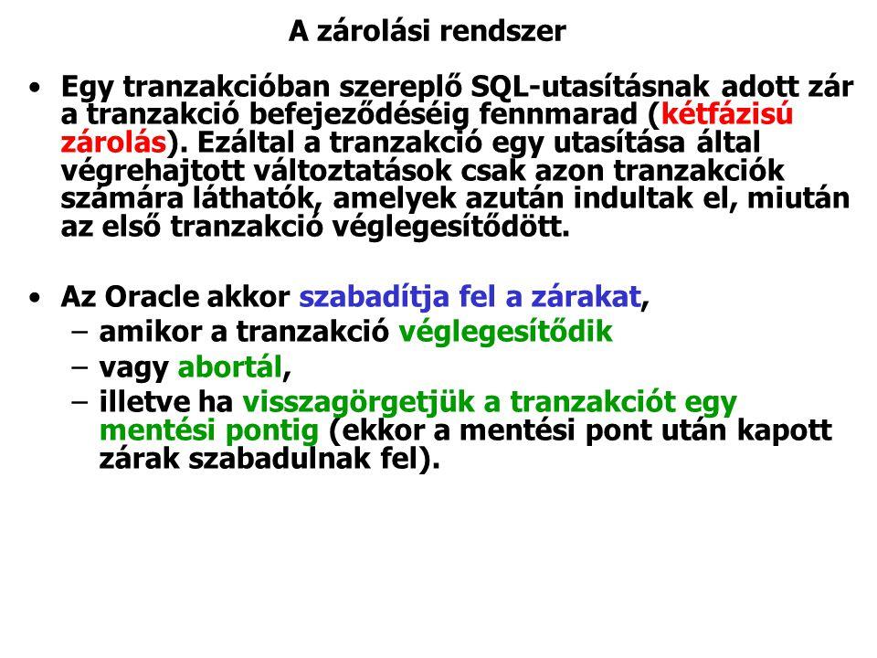 A zárolási rendszer Egy tranzakcióban szereplő SQL-utasításnak adott zár a tranzakció befejeződéséig fennmarad (kétfázisú zárolás).