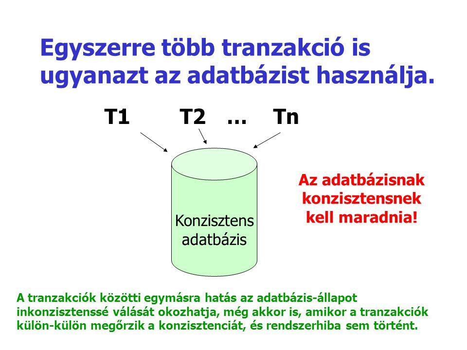 Egyszerre több tranzakció is ugyanazt az adatbázist használja. T1T2…Tn Konzisztens adatbázis Az adatbázisnak konzisztensnek kell maradnia! A tranzakci