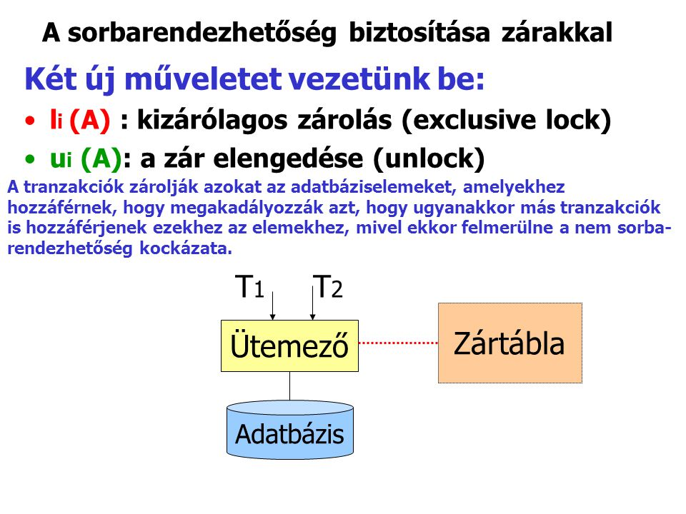 A sorbarendezhetőség biztosítása zárakkal Két új műveletet vezetünk be: l i (A) : kizárólagos zárolás (exclusive lock) u i (A): a zár elengedése (unlock) Ütemező Adatbázis T 1 T 2 Zártábla A tranzakciók zárolják azokat az adatbáziselemeket, amelyekhez hozzáférnek, hogy megakadályozzák azt, hogy ugyanakkor más tranzakciók is hozzáférjenek ezekhez az elemekhez, mivel ekkor felmerülne a nem sorba- rendezhetőség kockázata.