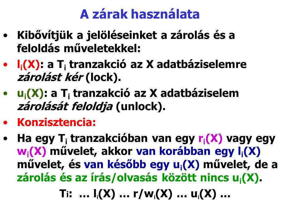 A zárak használata Kibővítjük a jelöléseinket a zárolás és a feloldás műveletekkel: l i (X): a T i tranzakció az X adatbáziselemre zárolást kér (lock)