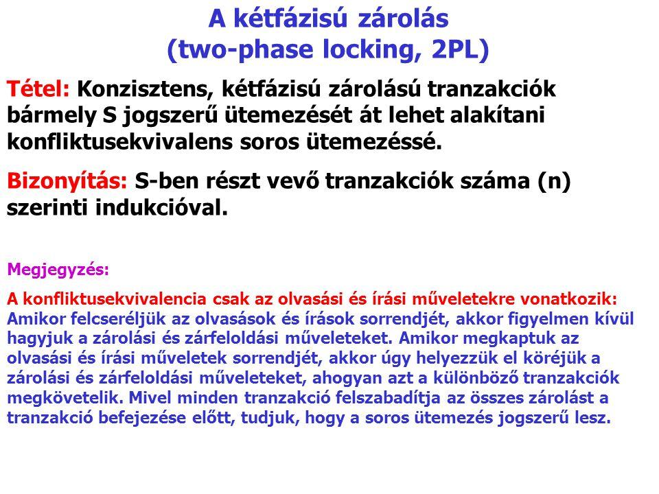 A kétfázisú zárolás (two-phase locking, 2PL) Tétel: Konzisztens, kétfázisú zárolású tranzakciók bármely S jogszerű ütemezését át lehet alakítani konfliktusekvivalens soros ütemezéssé.