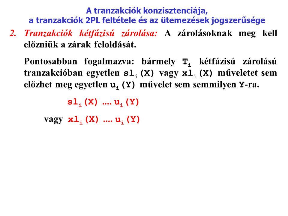 A tranzakciók konzisztenciája, a tranzakciók 2PL feltétele és az ütemezések jogszerűsége 2.Tranzakciók kétfázisú zárolása: A zárolásoknak meg kell elő
