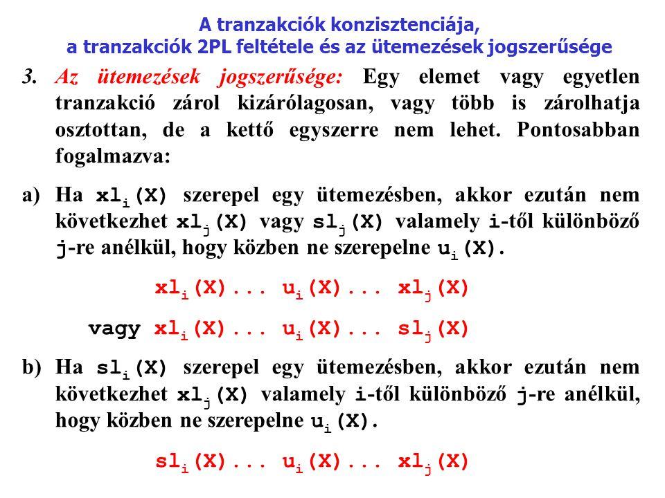 A tranzakciók konzisztenciája, a tranzakciók 2PL feltétele és az ütemezések jogszerűsége 3.Az ütemezések jogszerűsége: Egy elemet vagy egyetlen tranzakció zárol kizárólagosan, vagy több is zárolhatja osztottan, de a kettő egyszerre nem lehet.