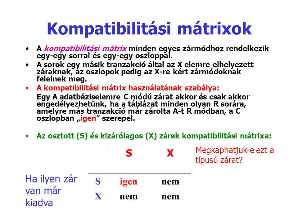 Kompatibilitási mátrixok A kompatibilitási mátrix minden egyes zármódhoz rendelkezik egy-egy sorral és egy-egy oszloppal. A sorok egy másik tranzakció