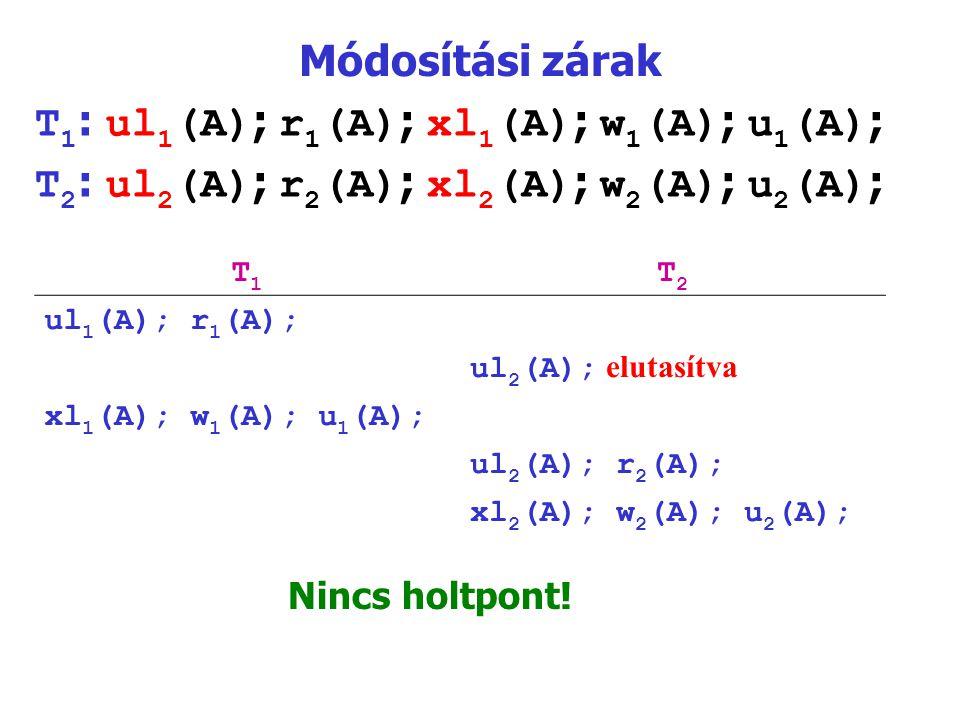 Módosítási zárak T 1 : ul 1 (A) ; r 1 (A) ; xl 1 (A) ; w 1 (A) ; u 1 (A) ; T 2 : ul 2 (A) ; r 2 (A) ; xl 2 (A) ; w 2 (A) ; u 2 (A) ; T1T1 T2T2 ul 1 (A