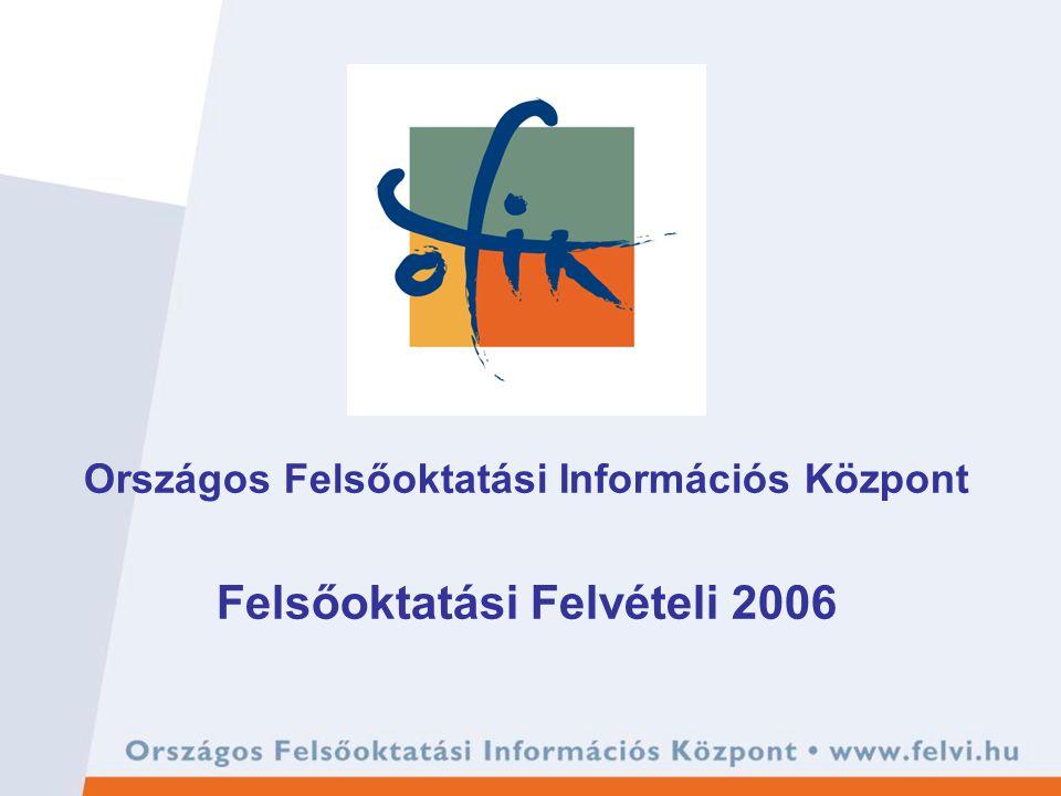 Országos Felsőoktatási Információs Központ Felsőoktatási Felvételi 2006